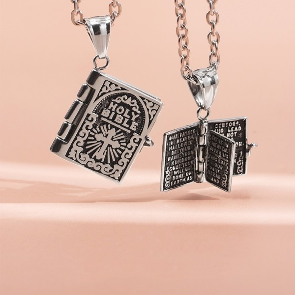 Engravable Holy Bible Necklace For Couples In Titanium