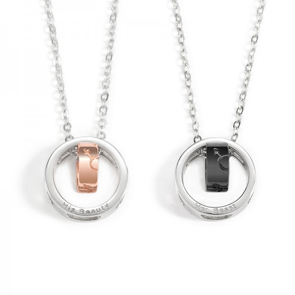 Her Beast His Beauty Necklace For Couples In Titanium