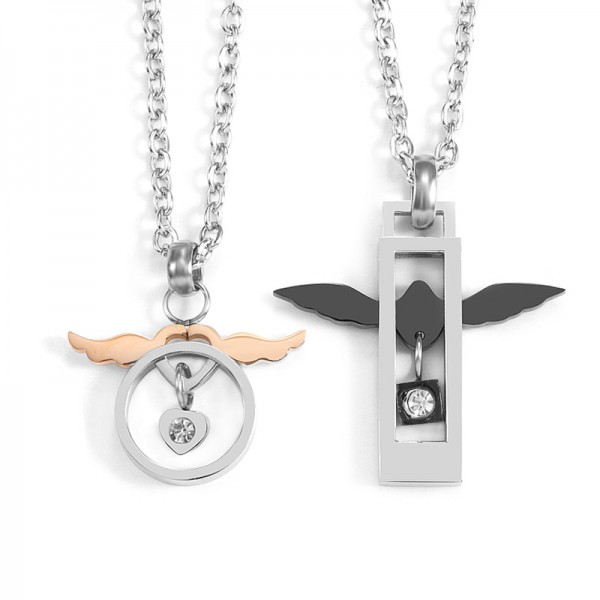 Cute Angel Wings Necklace For Couples In Titanium