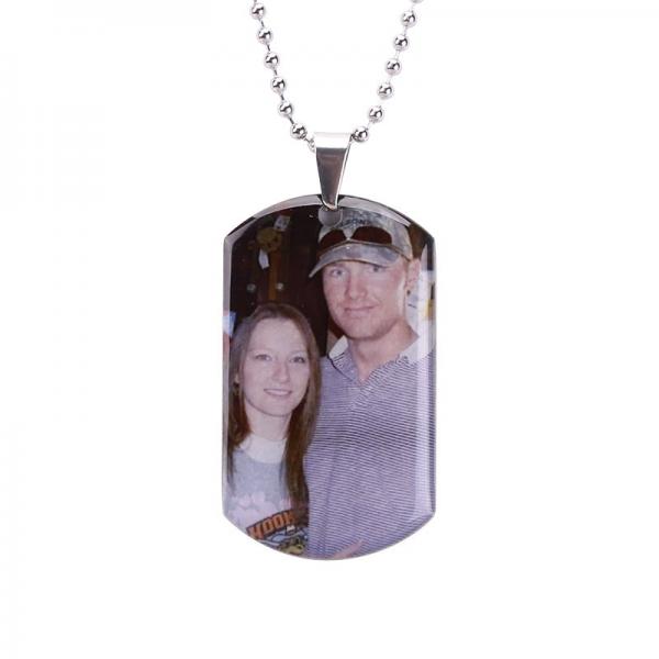 Personalized Titanium Photo Engraved Pendant Necklace
