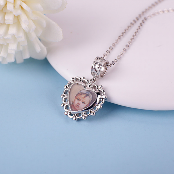 Sterling Silver Photo Engraved Heart Pendant Necklace