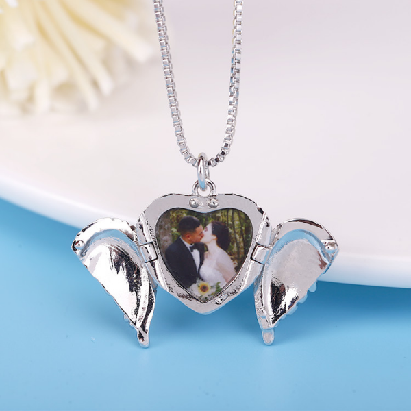 Sterling Silver Angel Wings Photo Engraved Heart Pendant Necklace