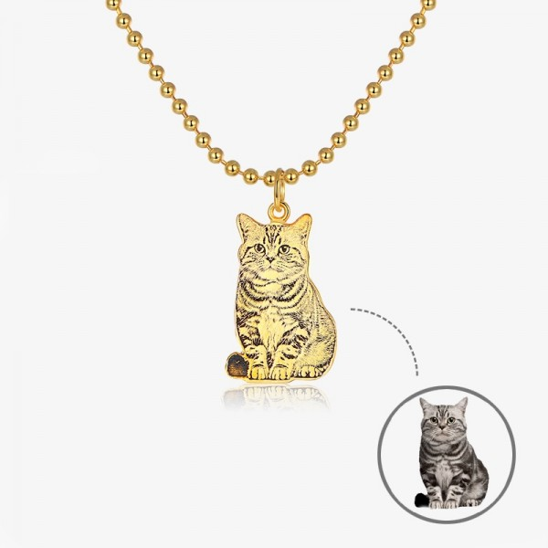 Personalized Yellow Custom Pet Photo Engraved Necklace In Sterling Silver