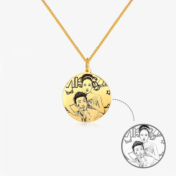 Personalized Yellow Custom Photo Engraved Circle Pendant Necklace In Silver