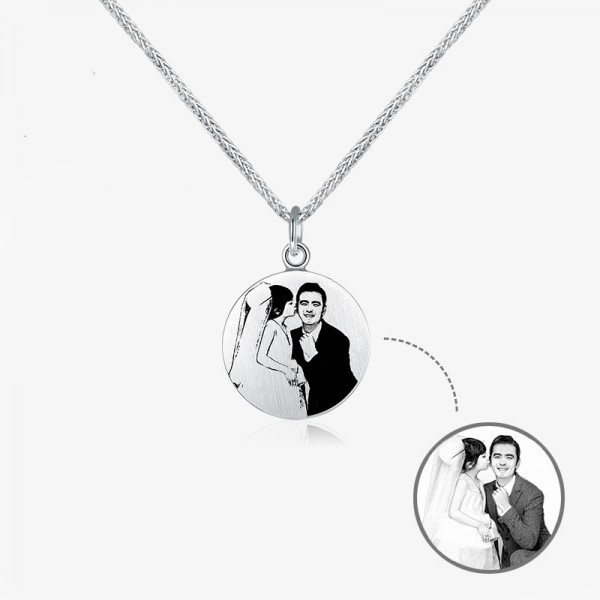 Personalized Custom Photo Engraved Circle Pendant Necklace In Sterling Silver