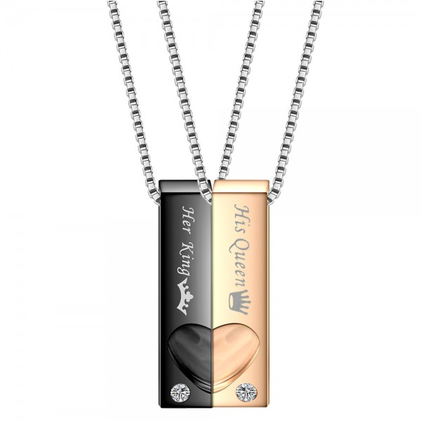 Engravable Her King His Queen Matching Heart Necklaces In Titanium