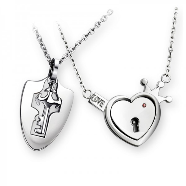 Lock And Key Matching Necklaces For Couples In Titanium