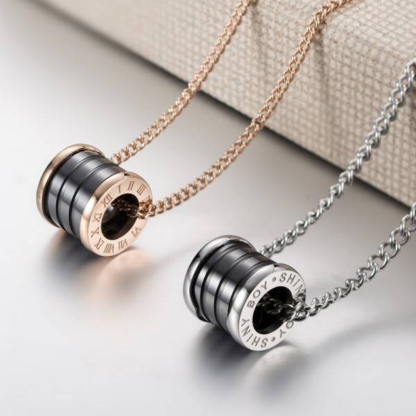 Shiny Boy Matching Necklaces For Couples In Titanium