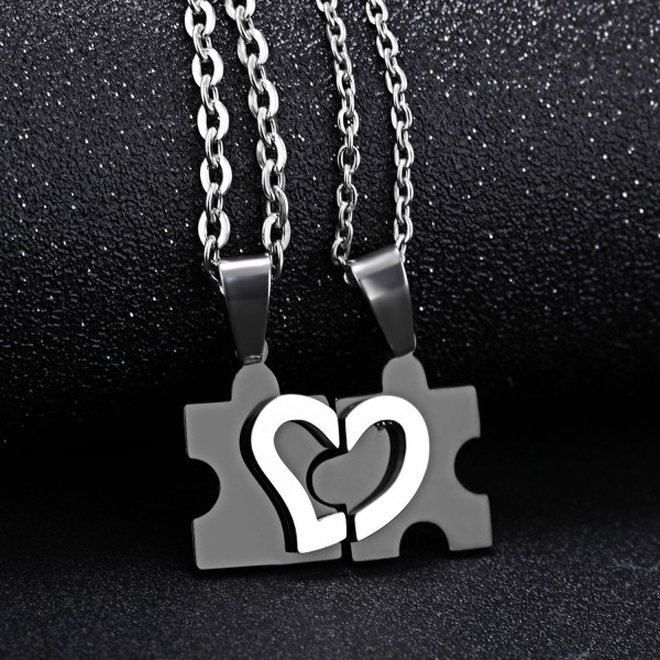 Puzzle Matching Heart Necklaces For Couples In Titanium