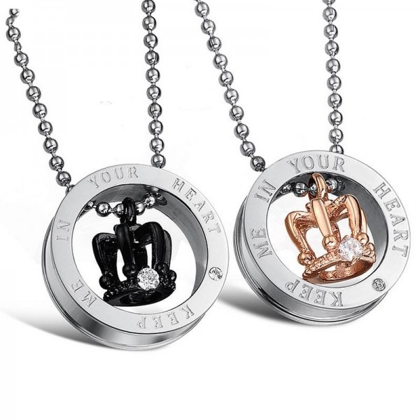 Keep Me In Your Heart Matching Crown Necklaces For Couples In Titanium
