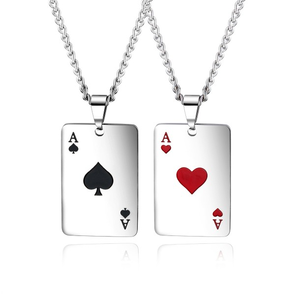 Hearts And Spades Matching Necklaces For Couples In Titanium
