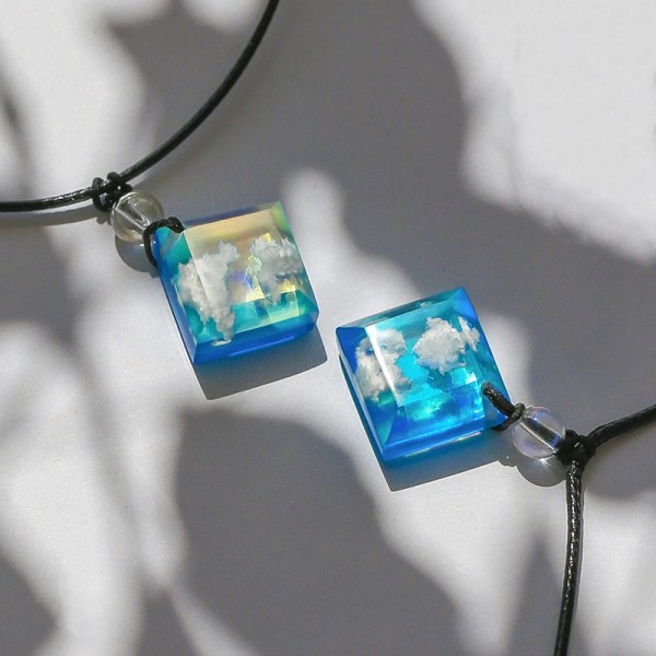 Personalized Sunrise And Sunset Matching Resin Necklaces For Couples
