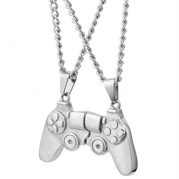Attract Game controller Matching Necklaces For Couples In Titanium
