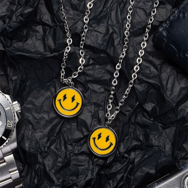 Engravable Smiley Face Necklaces For Couples In Titanium