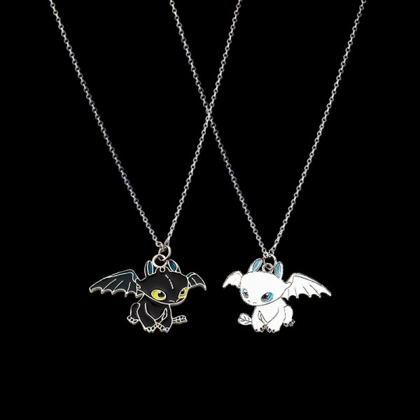 Cute Matching Dragon Necklaces For Couples In Titanium