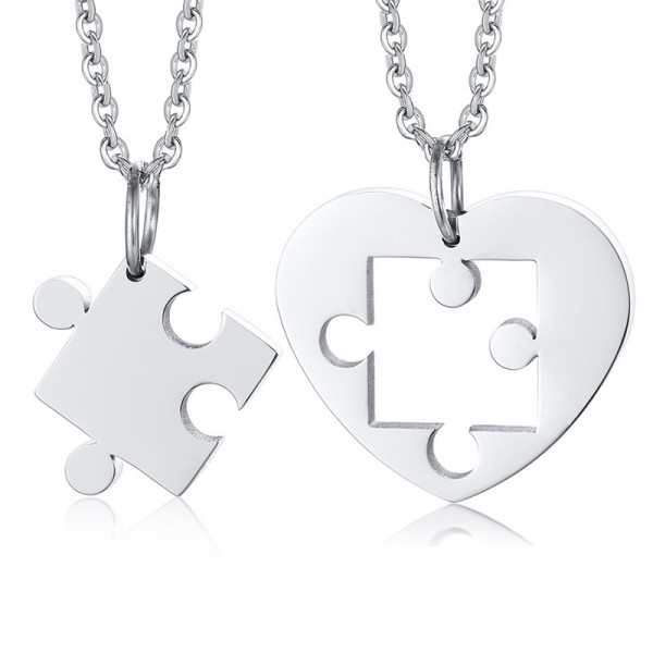 Simple Matching Heart Necklaces For Couples In Titanium