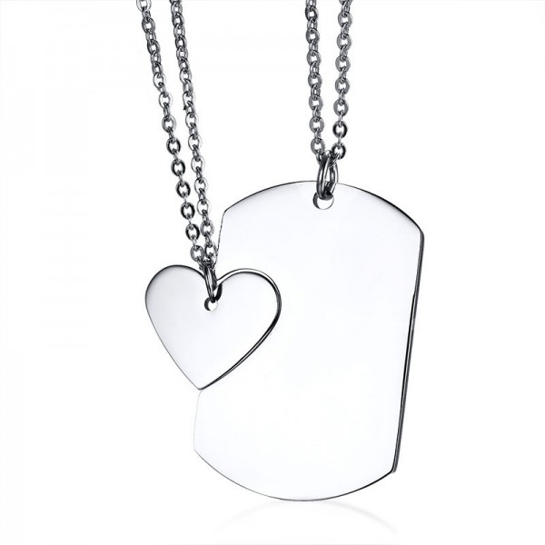 Engravable My Heart Will Go On Matching Necklaces For Couples In Titanium