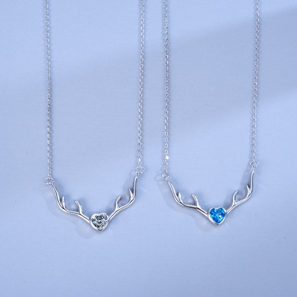 Personalized Elk Pendant Necklaces For Couples In Sterling Silver