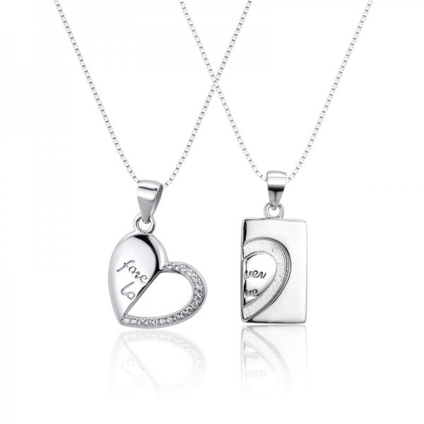 Engravable Couple's Matching Heart Necklaces In Sterling Silver