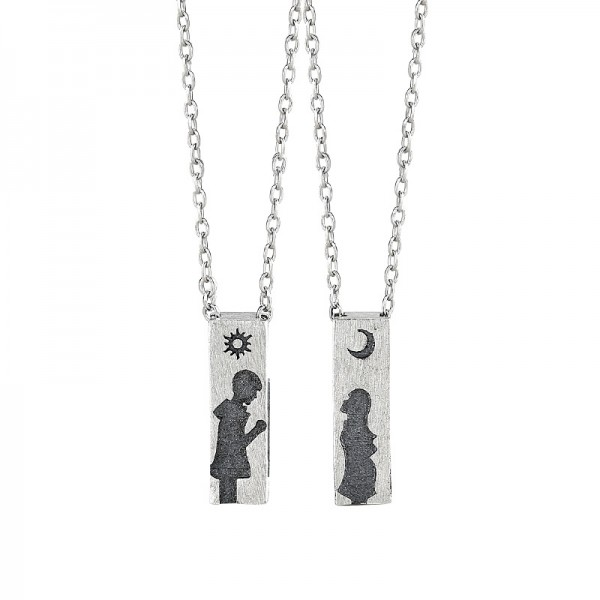 Engravable Cute Sun And Moon Matching Necklaces In Sterling Silver