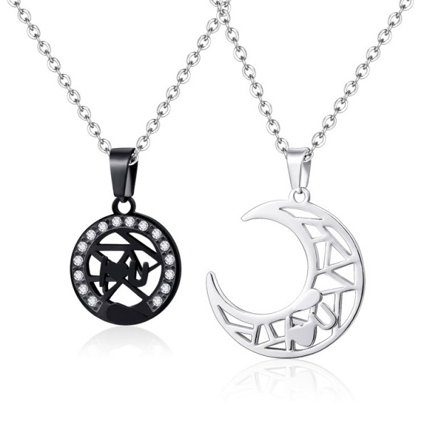 Sun And Moon Matching Necklaces For Couples In Titanium