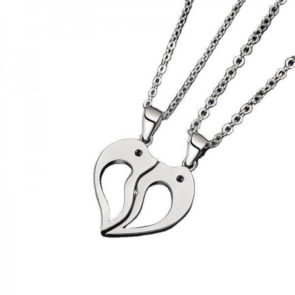 Personalized Matching Heart Dolphin Necklaces For Couples In Sterling Silver
