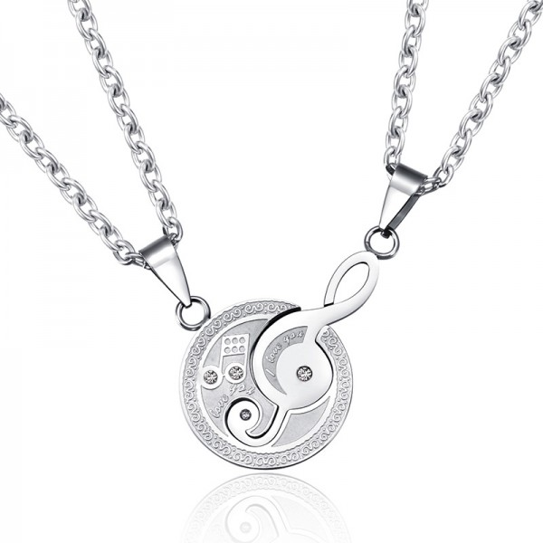 Engravable Love Note Matching Necklaces For Couples In Titanium