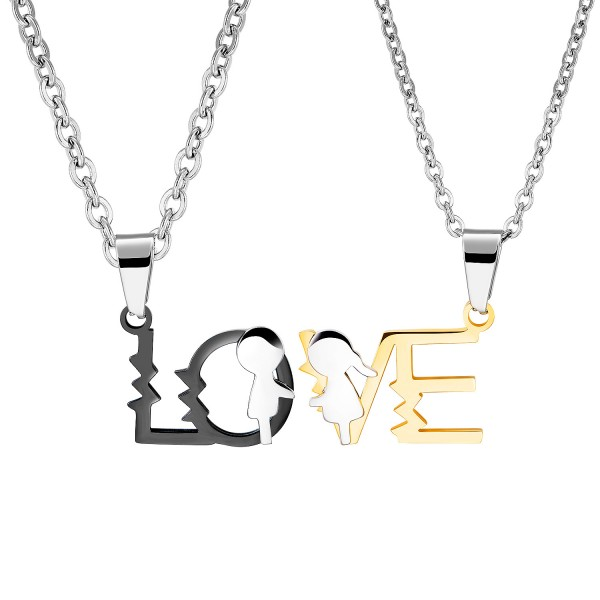 Personalized Matching Love Couple Necklaces In Titanium