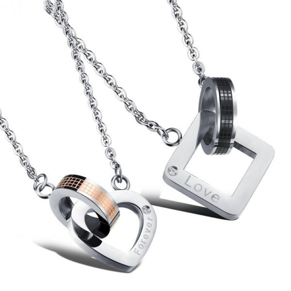 Forever Love Matching Couples Necklaces In Titanium