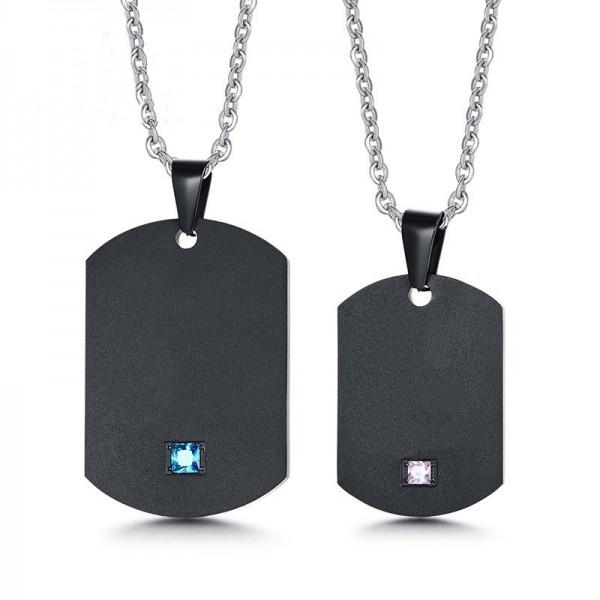 Engravable Simple Matching Couple Necklaces In Titanium