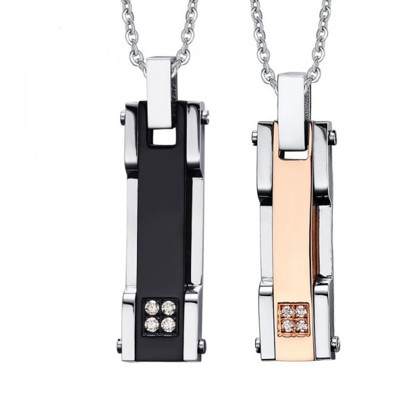 Engravable Black And Rose Matching Couple Necklaces In Titanium