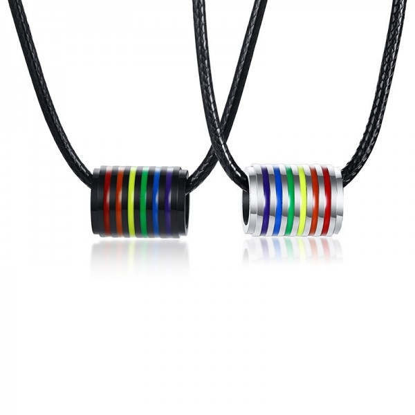 Rainbow Matching Ring Necklaces For Couples In Titanium