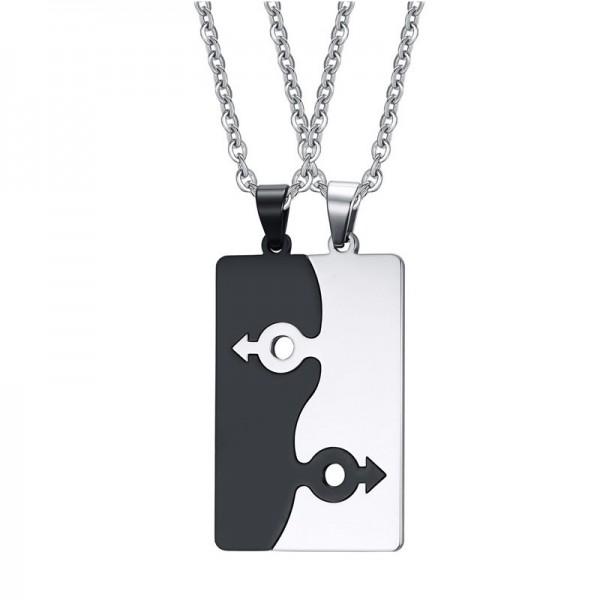 Engravable Simple Matching Couples Necklaces In Titanium