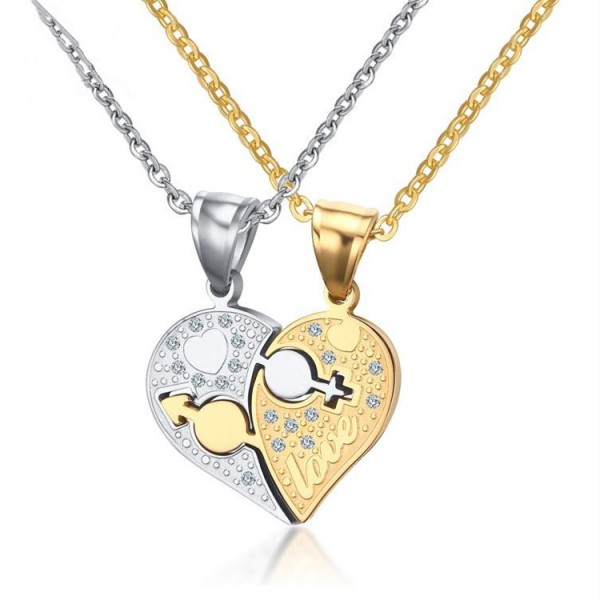 Engravable Cute Matching Heart Couples Necklaces In Titanium