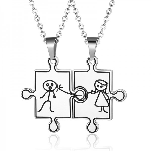 Engravable Cute Matching Puzzle Couples Necklaces In Titanium