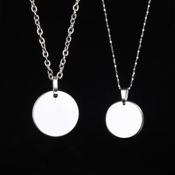 Simple Photo Engraved Necklaces For Couples In Tungsten