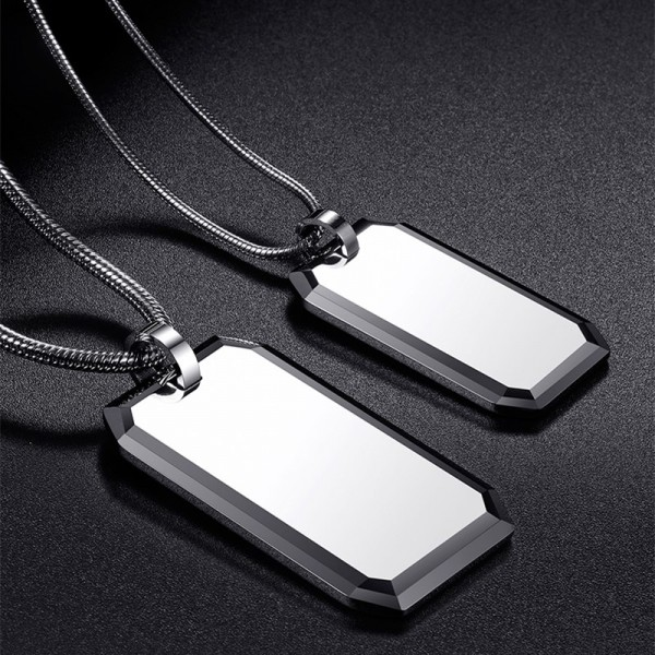 Engravable Simple Couples Necklaces In Tungsten