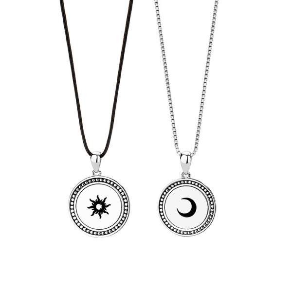 Engravable Sun And Moon Couples Necklaces In Sterling Silver