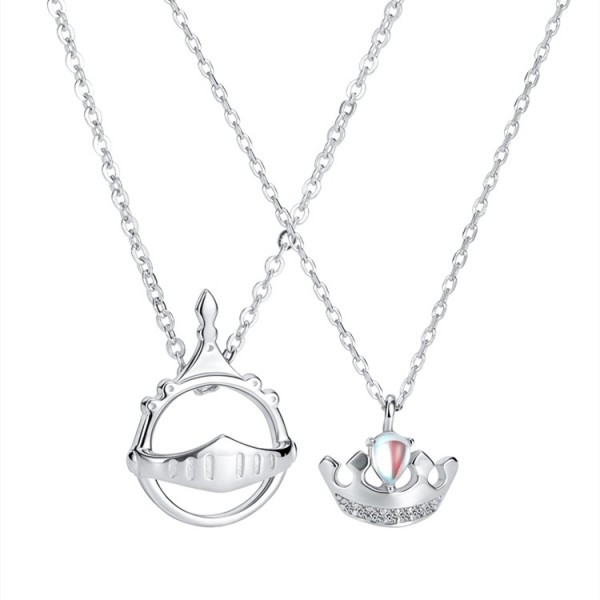 Personalized Princess And Knight Couples Necklaces In Sterling Silver