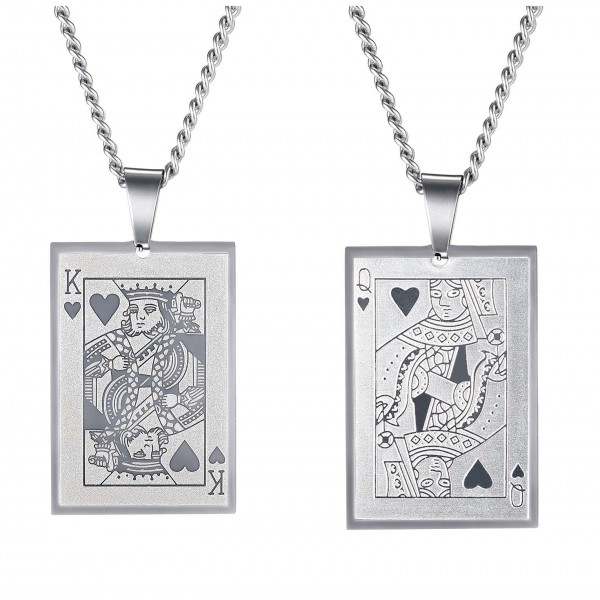 Unique King And Queen Matching Necklaces For Couples In Titanium