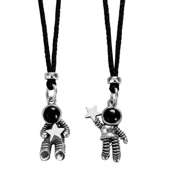 Cute Stars And Astronauts Matching Necklaces Set In Sterling Silver