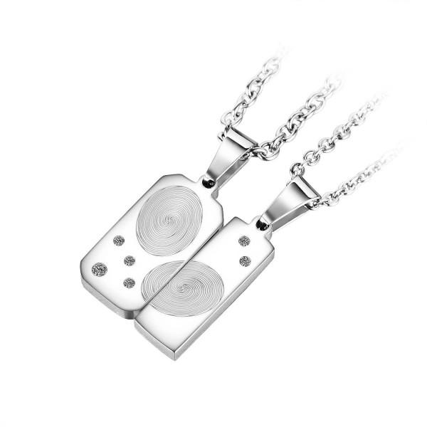 Unique Fingerprint Matching Necklaces For Couples In Titanium