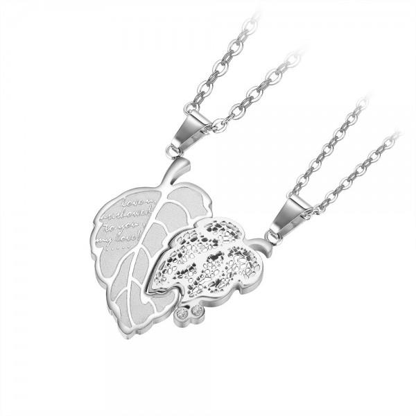 Unique Leaves Matching Necklaces For Couples In Titanium