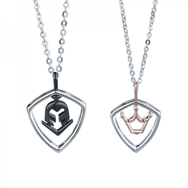 Unique Princess and knight Matching Necklaces For Couples In Sterling Silver