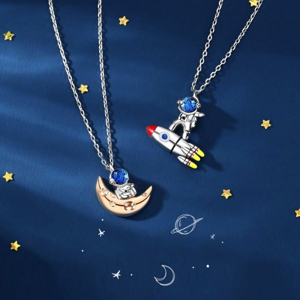 Unique Love You To The Moon And Back Matching Astronaut Necklaces For Couples In Sterling Silver