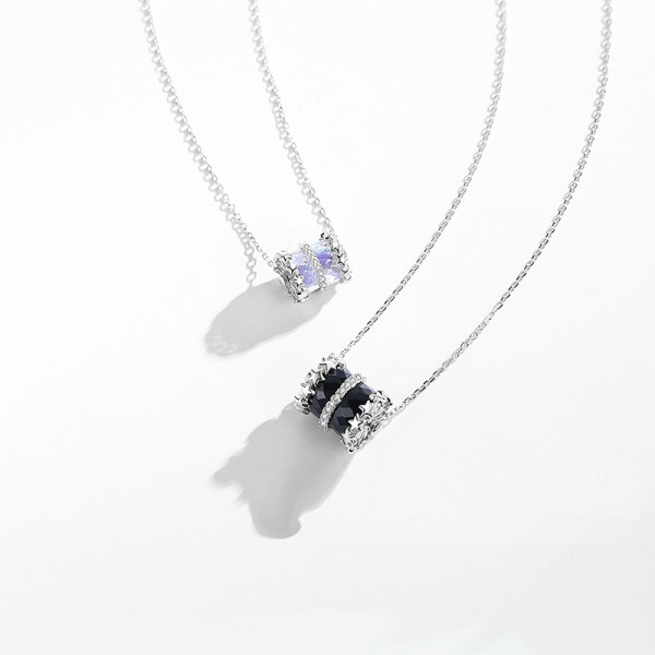 Unique Colored Glaze Matching Drum Necklaces For Couples In Sterling Silver