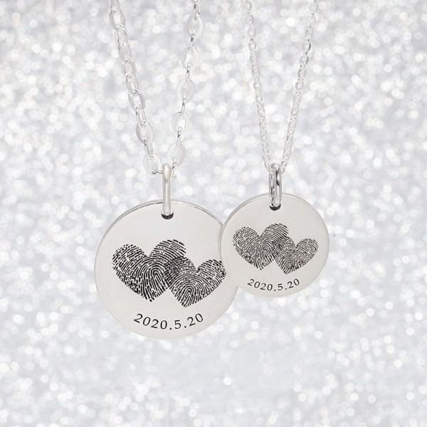 Personalized Matching Fingerprint Necklaces For Couples In Sterling Silver