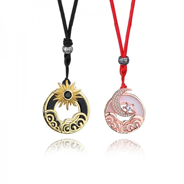 Unique Sun And Moon Matching Necklaces For Couples In Sterling Silver