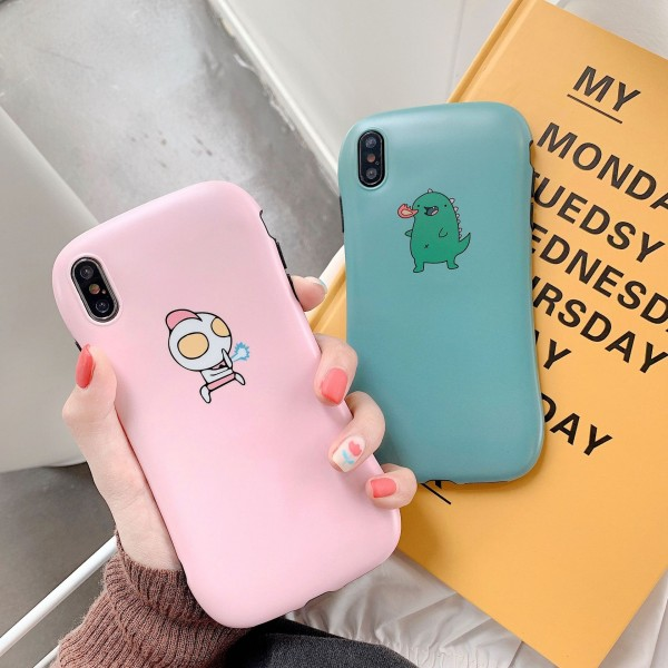 Cute Ultraman And Little Monster iPhone Cases For Couples In TPU