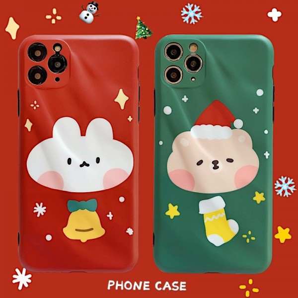 Cute Red And Green Christmas iPhone Cases For Couples In TPU